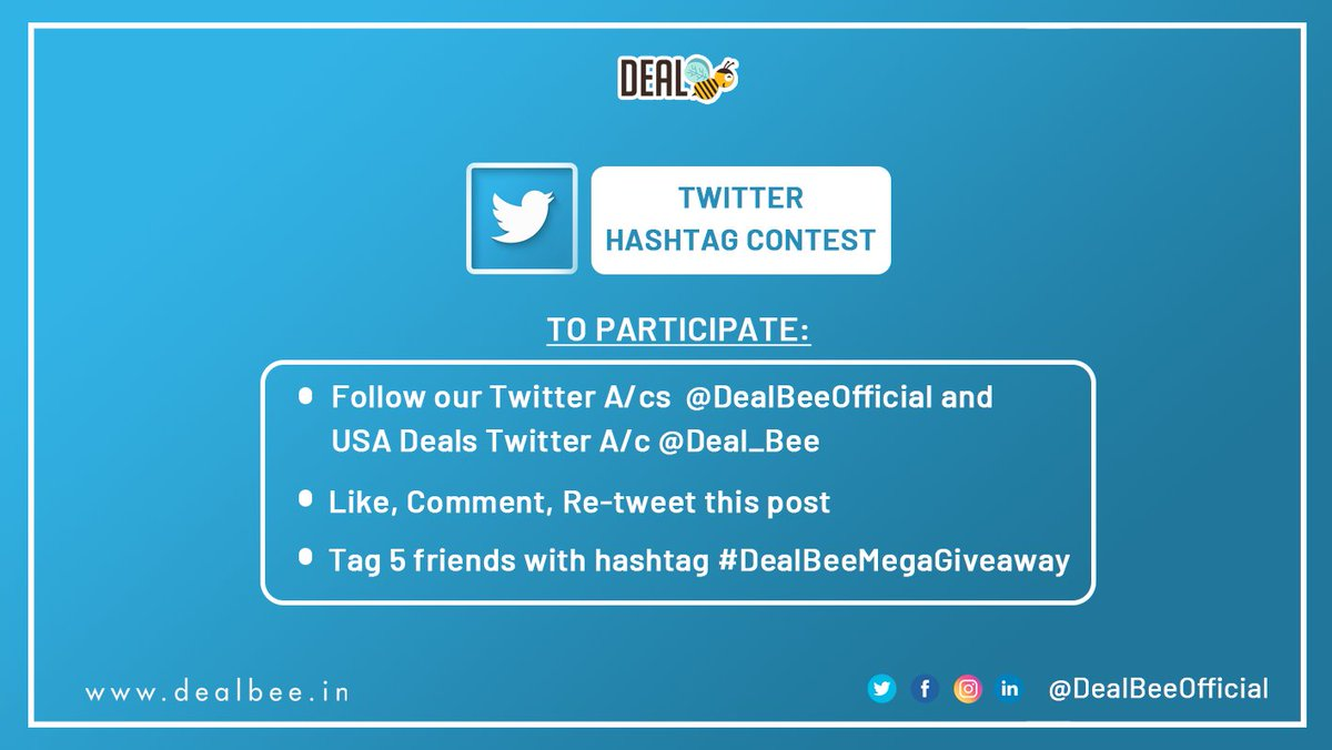 💡 DealBee's Hashtag Contest Week is live from now till 28th Jan '21  Enter and win Amazon vouchers worth Rs. 2500 (250 X 10).  2 Winners will be announced every next day of the contest  So tag your friends, & participate now! 🥳  #DealBeeMegaGiveaway #ContestAlert