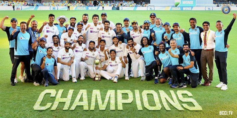 ऑस्ट्रेलिया में खेली गई टेस्ट श्रृंखला में ऐतिहासिक जीत व #BorderGavaskarTrophy को बरकरार रखने पर #TeamIndia को ढेर सारी बधाई।  हमारे युवा खिलाड़ियों ने अपने उत्कृष्ट प्रदर्शन से हमेशा देश का मान बढ़ाया है और सभी देशवासियों को गौरवान्वित होने का अवसर प्रदान किया है। #INDvsAUS