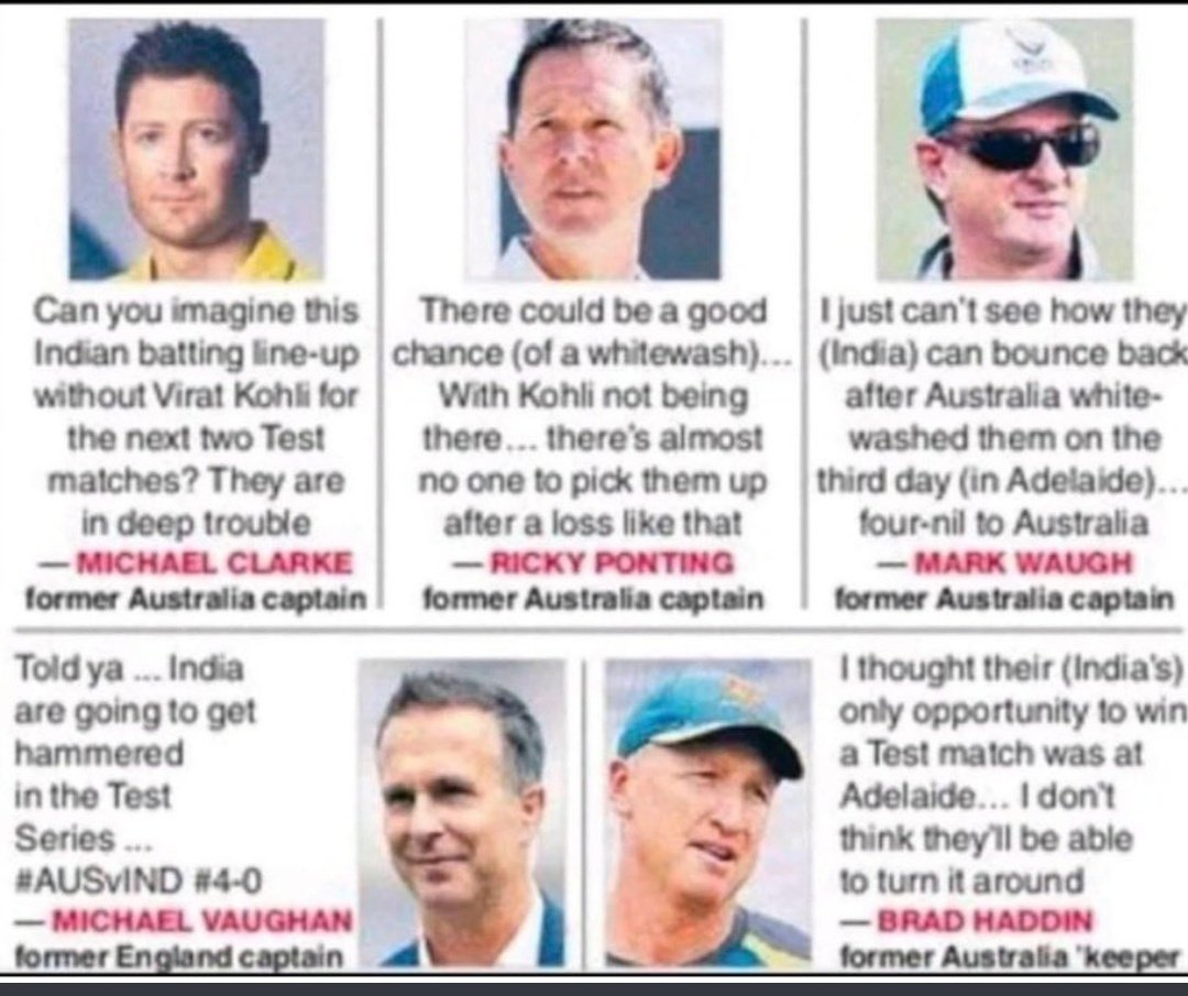 @virendersehwag In your face 🔥🔥🔥 @MichaelVaughan @RickyPonting @MClarke23 @BradHaddinnot #markwaugh #INDvsAUS