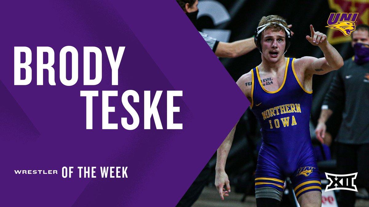 Week ✌️ #Big12WR of the Week is awarded to @UNI_wrestling's Brody Teske. Details ➡️ big12.us/3o0Km6x