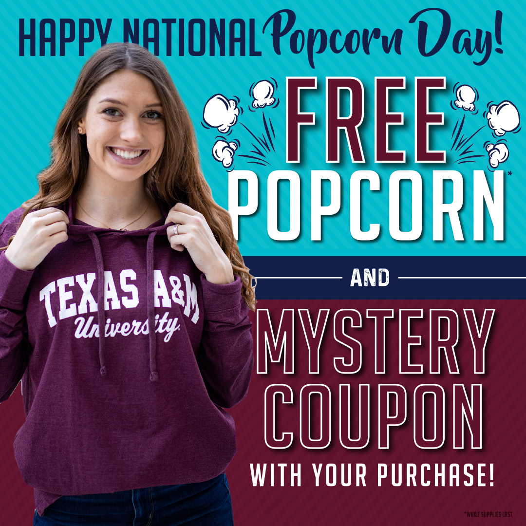 HAPPY #NationalPopcornDay! We are excited for this semester and want to get it started with a savory snack and a sweet deal!  Shop The Warehouse TODAY and receive a free bag of Aggie popcorn🍿 and a mystery coupon with any purchase! We can't wait to see you!