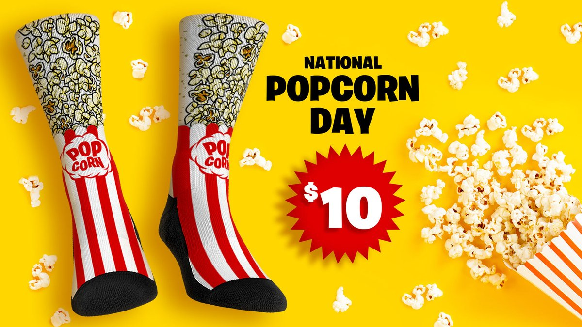 🍿 𝐖𝐡𝐚𝐭'𝐬 𝐏𝐨𝐩𝐩𝐢𝐧?  Celebrate #NationalPopcornDay with socks as smooth as butter! Today only our Popcorn socks are $10!   Shop now: