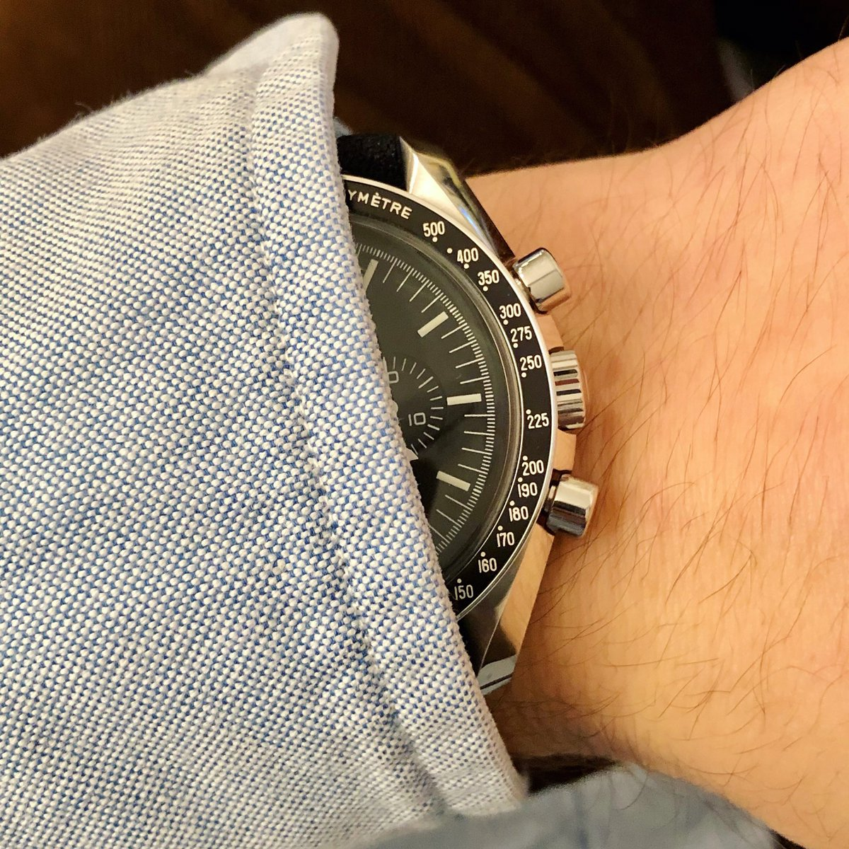 My new Omega in! This time it's not a vintage project😃 #omega #speedmaster #watchcollector #watchlover #wristwatch #wristshot #wristcandy #wristgame #lifestyle #seenthroughwrist #watchaddict