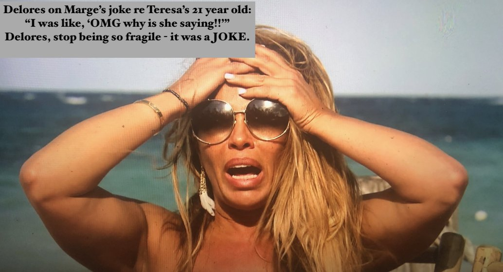 """#rhonj Season 10, Jamaica  Delores complaining about Marge's joke to Teresa about some 21 year old:    """"I was like 'OMG what is she saying!'""""  Calm down Delores- it was a JOKE.  Remember the word """"joke"""" you and Teresa use as a standard defense.  Yeah, that is also is used 4 u.😅"""
