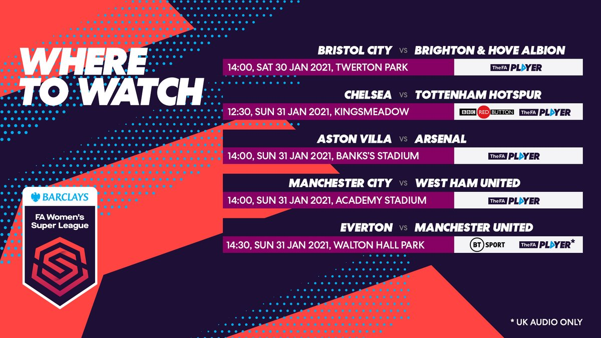 Confirmed schedule for the 30-31 January 👇 #BarclaysFAWSL