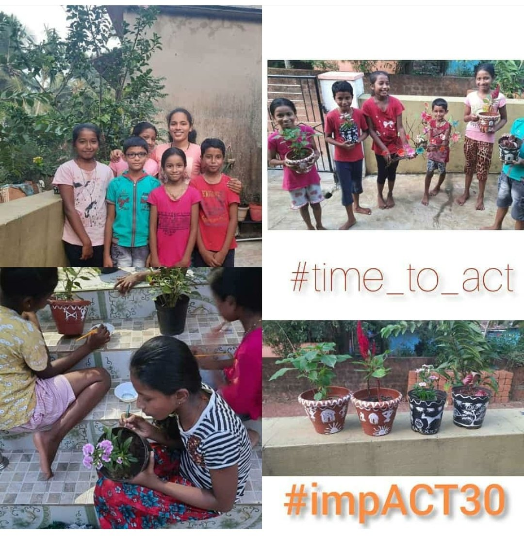 Teena from impACT 30 Udupi is teaching warli painting and paper flower making to students as a part of her Leadership task🤩  #act #time_to_act #impACT30 #ngo #Udupi #volunteering #education #project #changemakers #sdg4 #happiness #socialchange #motivation
