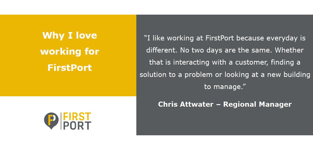 Our 2nd day of 'why I love working for FirstPort' is from Chris Attwater. Chris is a Regional Manager for the North West.  If you've ever wondered what roles in operations we have, check out  for more information. #FirstPortUK #FirstPortPeople #Careers