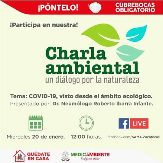 ♻ | Te invitamos a nuestra charla ambiental. La cita es este miércoles. 🌳🍃 ¡Síguela en vivo a través de nuestra página de Facebook! #SeguimosCumpliendo 🌱🌍🌻
