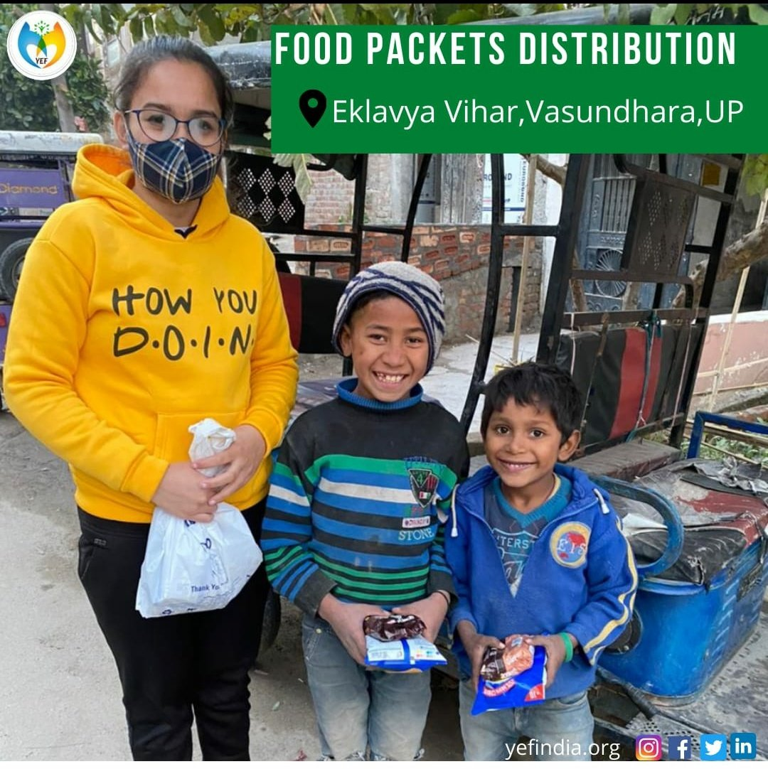 'To a hungry person,every food is satisfying,so join as a helping hand to YEF team to eradicate hunger' Conducted Food Packets Distribution Drive at Eklavya Vihar,Vasundhara,UP #ngo #charity #nonprofit #education #donate #covid #volunteer #india #love #help #children #support