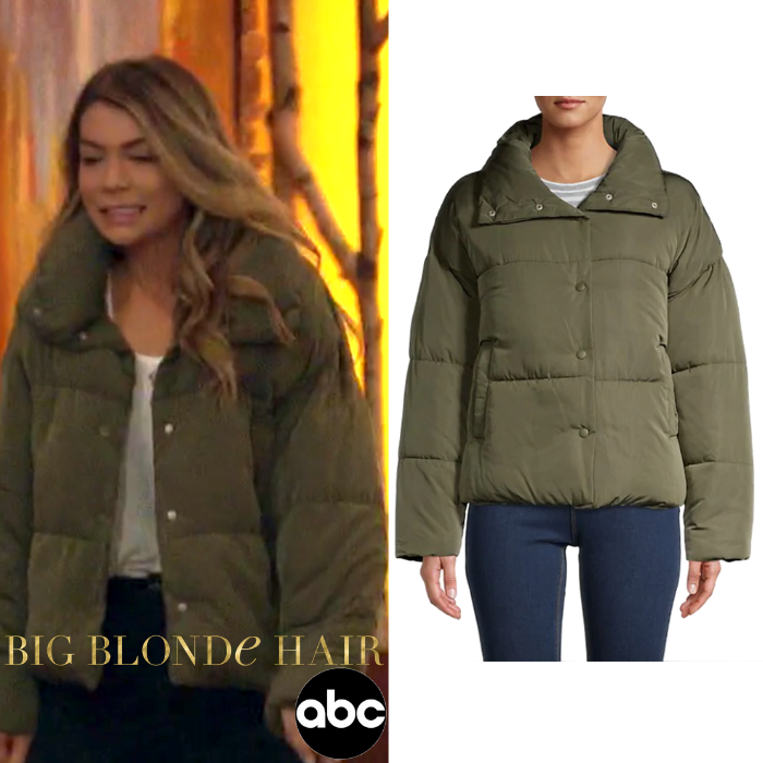 Olive You // Get details on Sarah Trott's Olive Green Puffer Coat  on #TheBachelor here:  #bachelornation