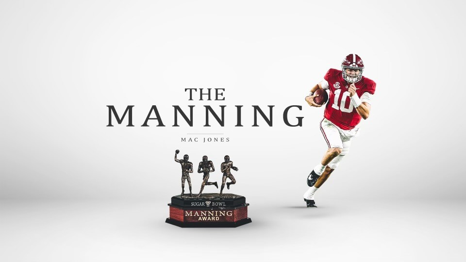 Caps season by winning the Manning Award 🏆 @MacJones_10 #BamaFactor #RollTide