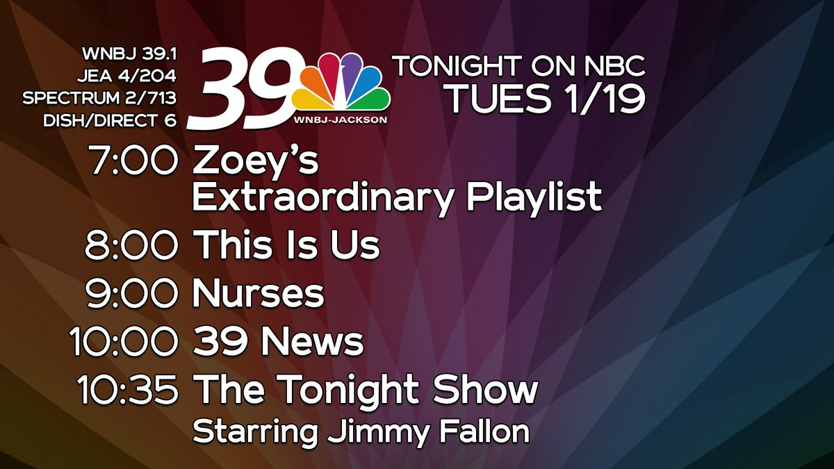 Tonight on NBC is all-new with ZoeysPlaylist, #ThisIsUs, and #Nurses.  Then, stay tuned for 39 News at 10 and #FallonTonight at 10:35 on NBC39. (WNBJ 39.1; JEA 4/204; Spectrum 2/713; Dish/DirecTV 6)