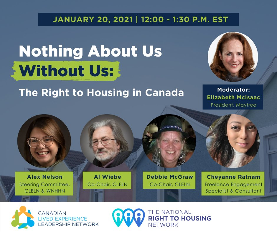 🚨 Don't miss out on tomorrow's webinar at 12 p.m. EST! We'll hear from Alex Nelson, Al Wiebe, Debbie McGraw & Cheyanne Ratnam on the need to centre lived experiences of homelessness when driving forward the #right2housing in Canada. 👉 Register here: ed.gr/c5mn7