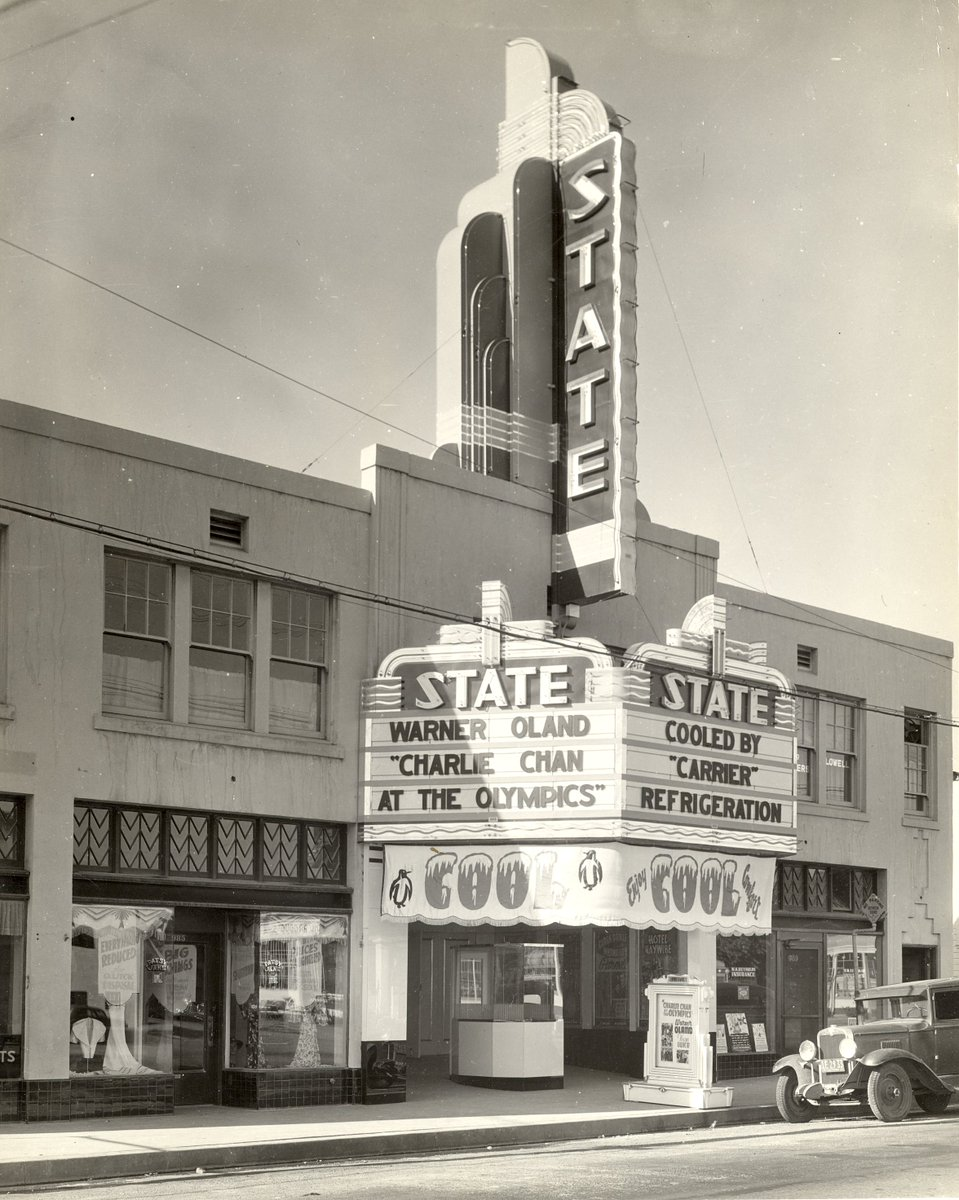 "Auburn State Theater  c. 1937  Nothing says ""popcorn"" like a movie theater.  #tuesdayvibe  #COVID19  #NationalPopcornDay"