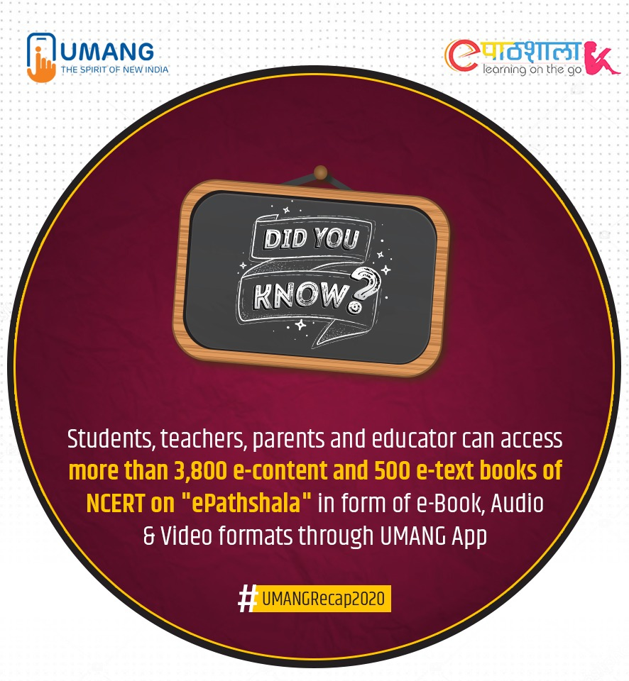 """#NayaSaalNayiUMANG   #DidYouKnow  Through the Digital Learning Platform """"#ePathshala"""" on #UMANG, students, teachers, educators and parents can access numerous resources in multiple languages, easily and at their own convenience."""