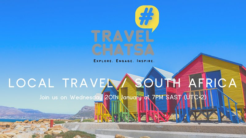 Meet us tomorrow for the first #TravelChatSA in 2021. Everyone is Welcome. The More the Merrier :-)