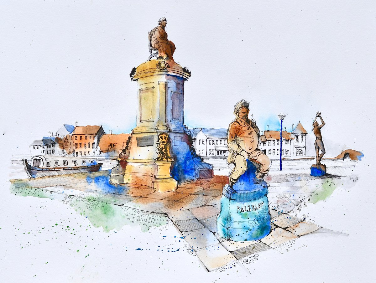 I had a go at the Gower Memorial to #Shakespeare in Stratford a few yrs ago but only got as far as a pen & ink #sketch in B&W. I thought I'd have another go, this time in colour. #art #artists #artistsontwitter #painting  #drawing #penandink #Watercolour #draw #Sketching #artist