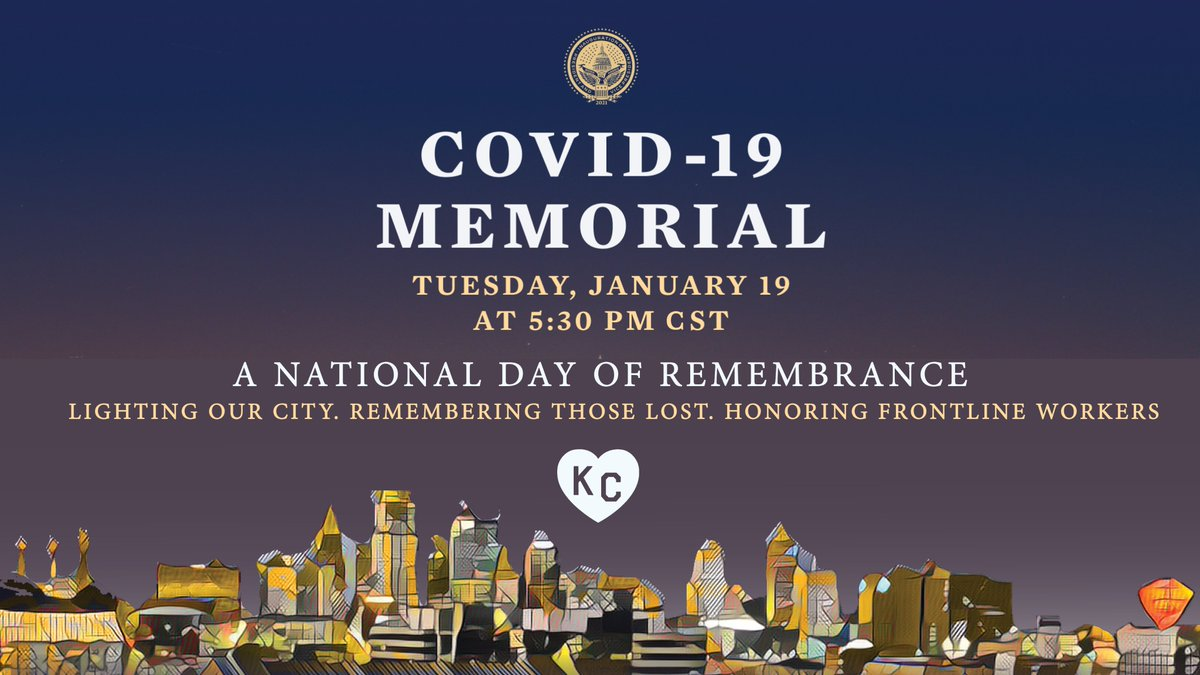 This evening, KC will join @BidenInaugural& cities across the country in a #NationalDayofRemembrance. During this #COVID19Memorial the #KC skyline will light up Amber & @TheWWImuseum's entrance will display 1,665 flags through Sunday for #KansasCitians lost to the #pandemic.