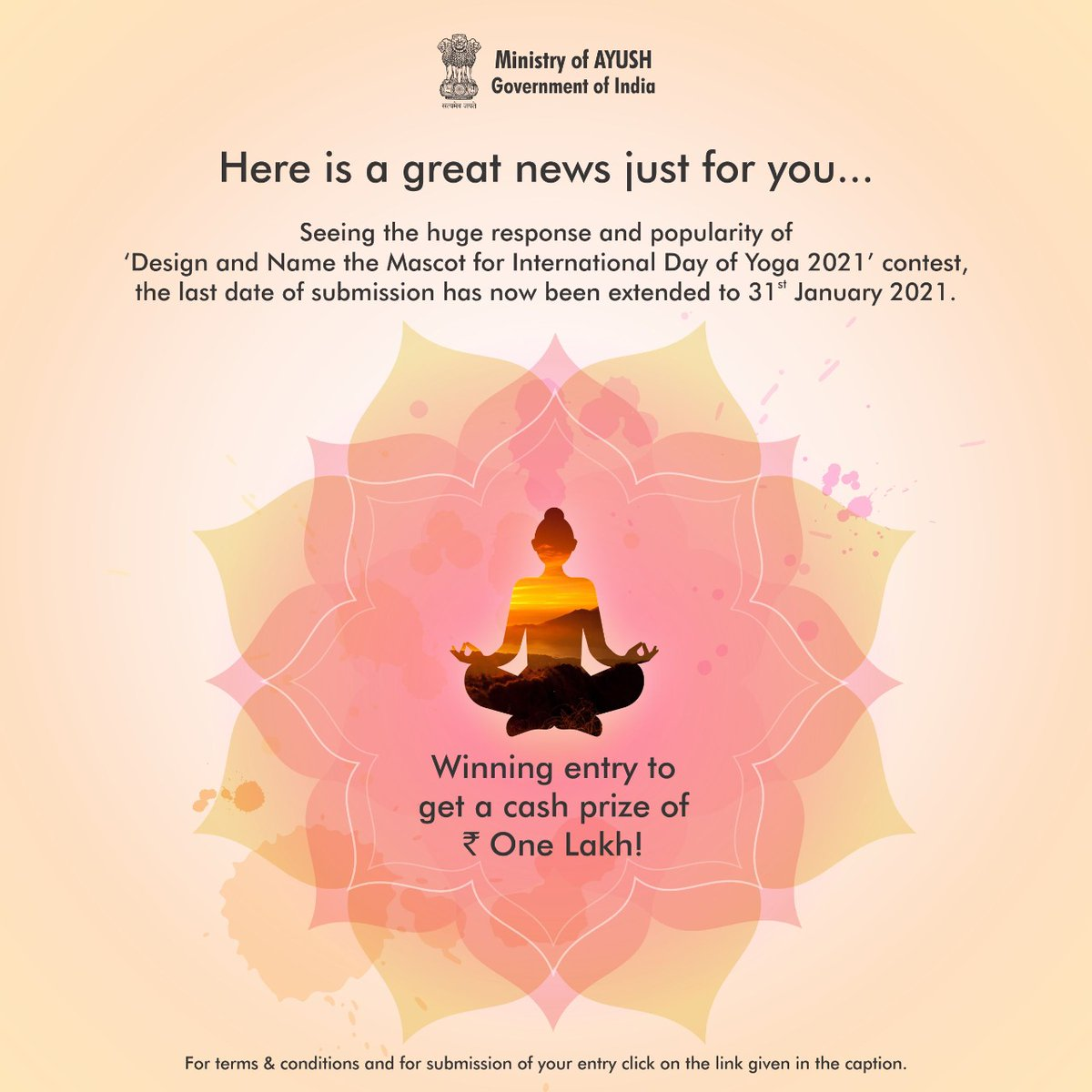 Congratulations! Now you have more time to showcase your creativity!  Seeing the immense response for 'Design and Name the Mascot for International Day of Yoga 2021' contest, the last date of submission has been extended.  The contest which has received 1207 entries from