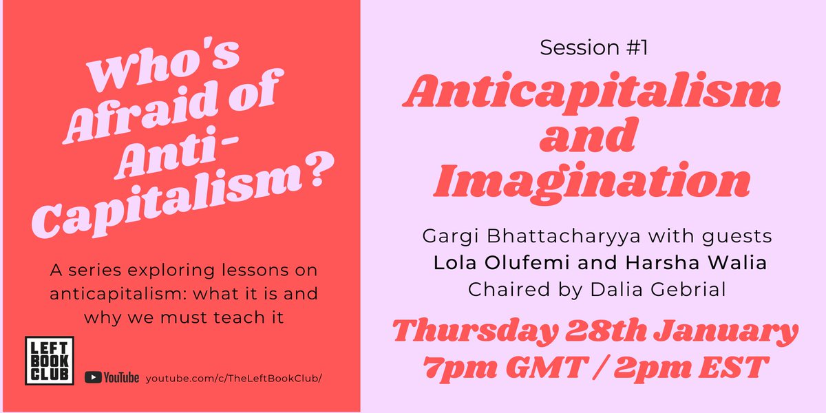We are beyond excited to announce the latest event in our webinar series on anticapitalism, featuring @lolaolufemi_ and @HarshaWalia in conversation with @Gargi_at_home, and chaired by @daliagebrial. Get your tickets: bit.ly/AntiCapitalist…
