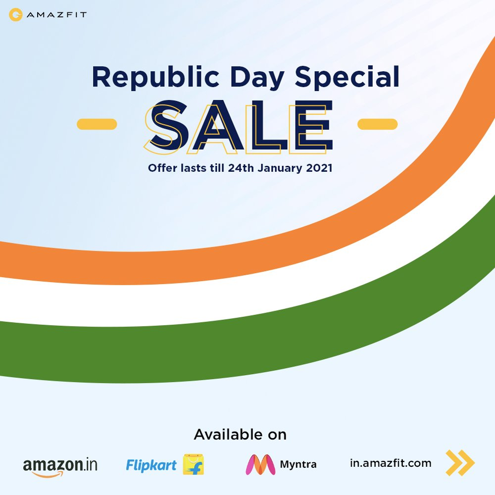 Republic day special offer to provide a special boost to your fitness resolutions of 2021.  Available on @Flipkart  @amazonIN  @myntra   #AmazfitGTR #AmazfitGTS #AmazfitBipU #AmazfitBipS #AmazfitBipSLite #AmazfitIndia #SpecialOffer #FestiveOffer
