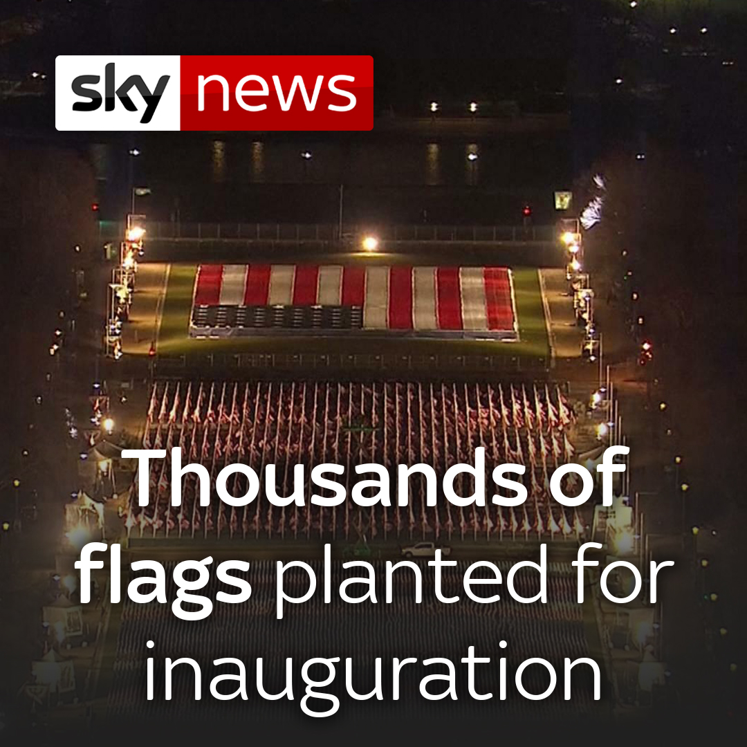 Almost 200,000 US flags were installed to represent Americans who cannot attend the event due to COVID-19 and security threats.  Read the latest from the US here: