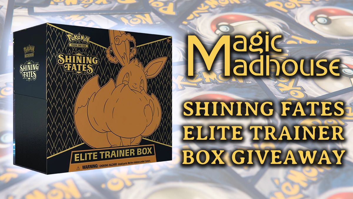 🎉Shining Fates Elite Trainer Box Giveaway!🎉 We are giving away a Shining fates elite trainer box! Simply:  1. Follow us @magicmadhouse if you're not already! 2. Tell us your favourite Pokémon of all time in the replies! 3. Tag a Poké-fan friend who would love this prize!