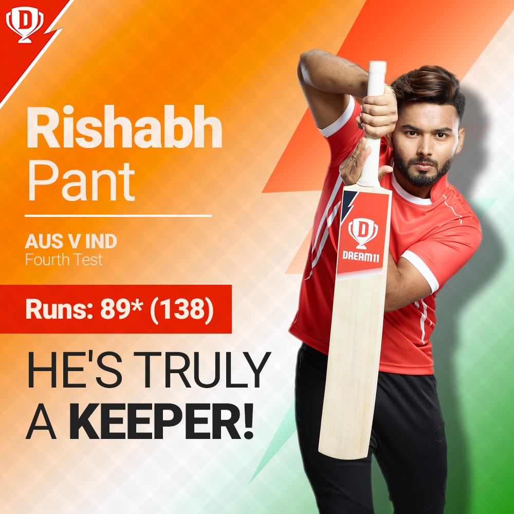 #TeamIndia fans love a wicketkeeper-batsman finishing the game, don't they? 😉  Well played, @RishabhPant17   #INDvAUS #BorderGavaskarTrophy 🏆 #IndiavsAustralia #GabbaTest #AUSvsIND #RishabhPant