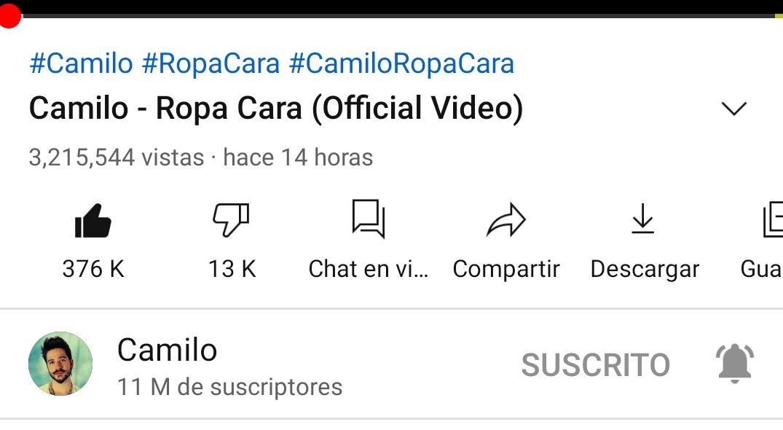 @CamiloMusica amanecimos con 3.2 millones en Ropa Cara en menos de 24 hrs