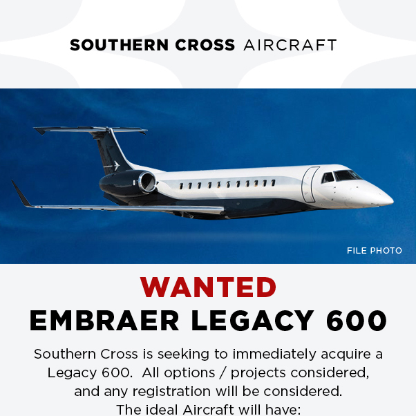 #aircraftwanted - #Embraer #Legacy 600 at @SCrossAircraft  Recent 144M inspection / Gear OH Contact them at: https://t.co/YGYAr9eldl  #bizav #aircraftforsale #privatejet #privateflying #jetforsale #businessaviation