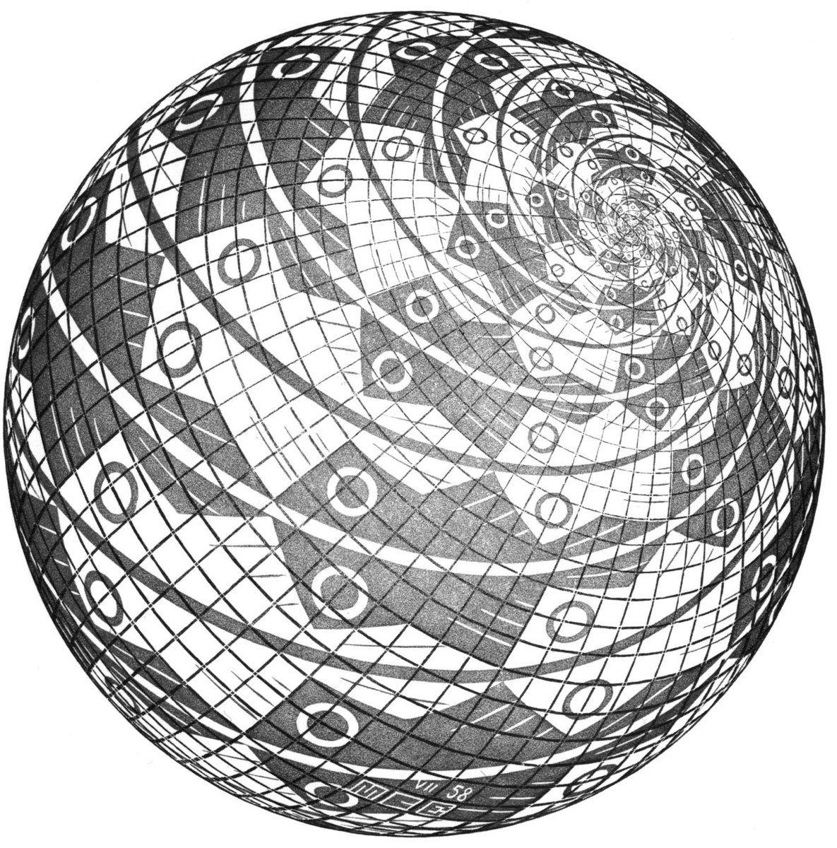 Sphere Surface with Fishes, 1958 #escher #opart