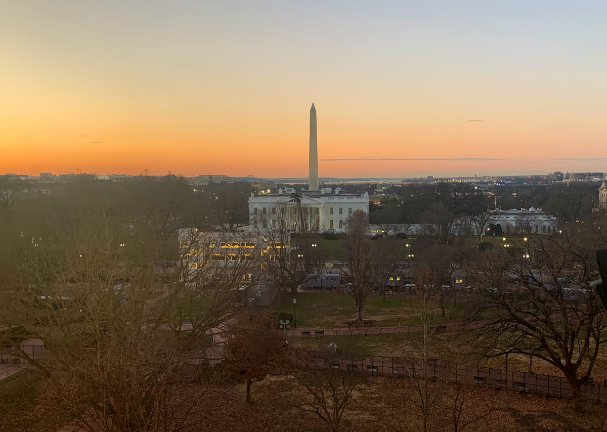 Sunrise on the last full day of the Trump administration. The president has nothing on his public schedule. VP Pence will host a final coronavirus task force meeting.   Pres-Elect Biden & VP-Elect Harris set to speak tonight at the Lincoln Memorial to honor lives lost to COVID.
