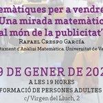 Image for the Tweet beginning: Esta vesprada, conferència sobre les