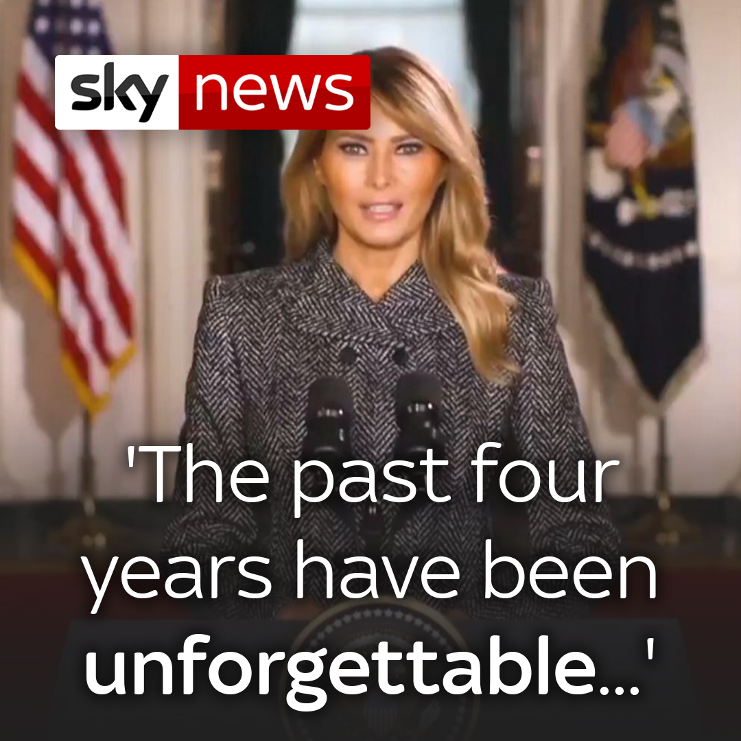 First Lady Melania Trump denounced violence in her goodbye message to the American people.  Read the latest from the US here: