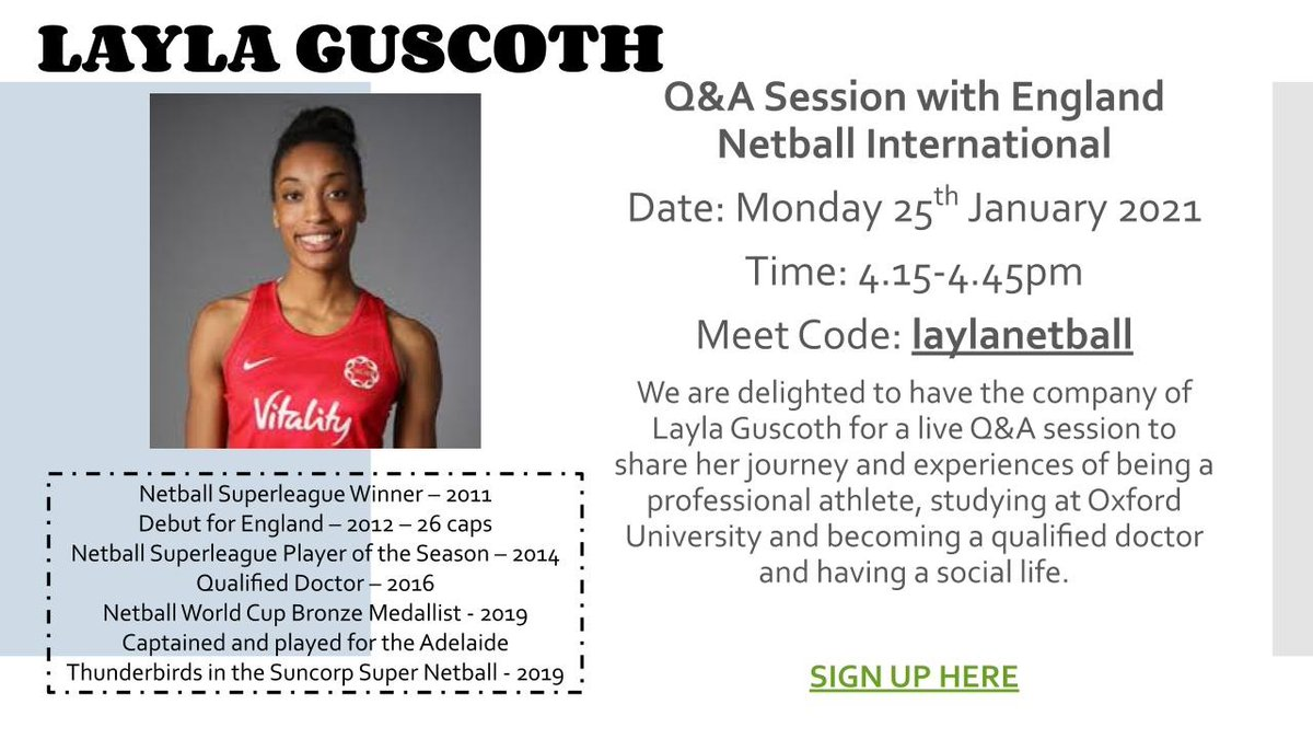 We are excited to have organised a live Q&A session with @LaylaGuscoth on Monday 25th January at 4.15pm. She will be sharing her journey and experiences of being a professional athlete, studying at Oxford University and becoming a qualified doctor. #thisgirlcan #girlpower