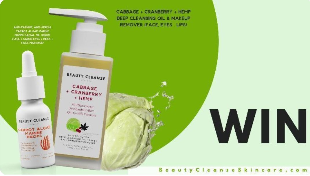 #Giveaway Time 💚 I've teamed up with @beautycleanse_ to celebrate the launch of Cabbage Cleansing Oil & Makeup Remover!  Prize includes duo of Multipurpose City Skin Essentials👇📝To Enter, RETWEET and LIKE this post  Ends 21/01/21, UK Only. One winner will be chosen at random!
