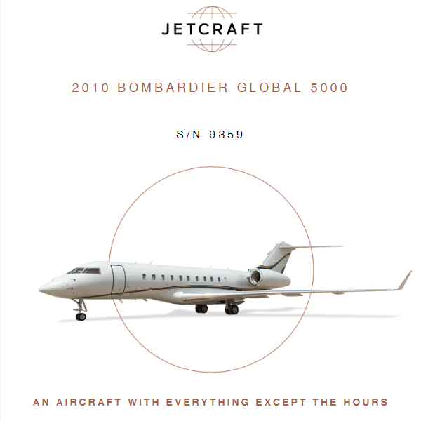 Turn Key - 2010 #Bombardier #Global 5000 available at @JetcraftCorp  Fresh 120 Month Inspection & Interior Refresh Enrolled on Engine, APU & Airframe Programs More details at: https://t.co/zBro41Kh1o  #bizjet #bizav #aircraftforsale #privatejet #privateflying #jetforsale