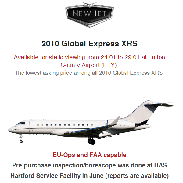 2010 #Global #Express #XRS available at @NewJetIntl    Engines enrolled on program, if required Recent 120 months inspection More details at: https://t.co/pWDKdHQovv  #bizjet #bizav #aircraftforsale #privatejet #privateflying #jetforsale #businessaviation