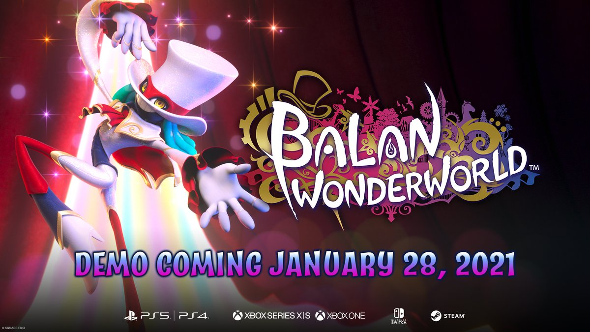 We've got some Balan-tastic news! 🎩✨  A demo will be available to download on PS5, PS4, Xbox Series X|S, Xbox One, Nintendo Switch and Steam on January 28, 2021!  Play alone or local co-op with a friend and get ready to enjoy the magic that is #BalanWonderworld.