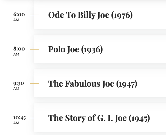 The TCM day schedule for tomorrow, January 20, 2021. Ain't it grand. (ht @JScottMcGee)