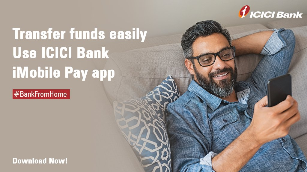 Now you can transfer funds conveniently with just a click of a button with the ICICI Bank iMobile Pay app that allows you to #BankFromHome with ease. More here: