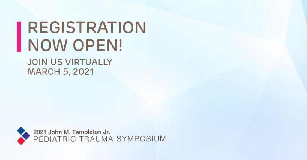 Calling all clinicians! Don't miss the 2021 #Templeton #Pediatric #Trauma Symposium - happening virtually! Each year we partner w/ @ChildrensPgh, @stchrishospital & @PennStHershey to deliver a cutting-edge, one-of-a-kind conference. Register: