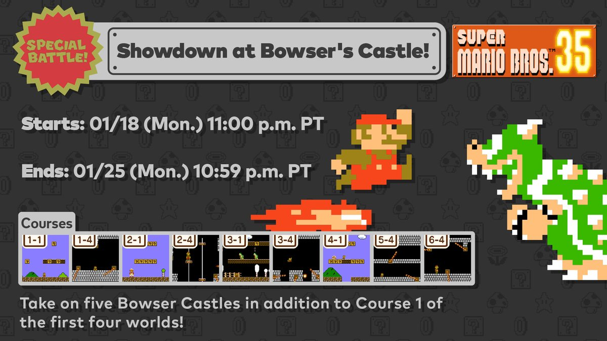 The 1st #SuperMarioBros35 World Count Challenge is now live! Race through Castle courses in this week's frantic Special Battle!   Use this event to defeat as many Bowsers as you can to help complete the World Count Challenge!