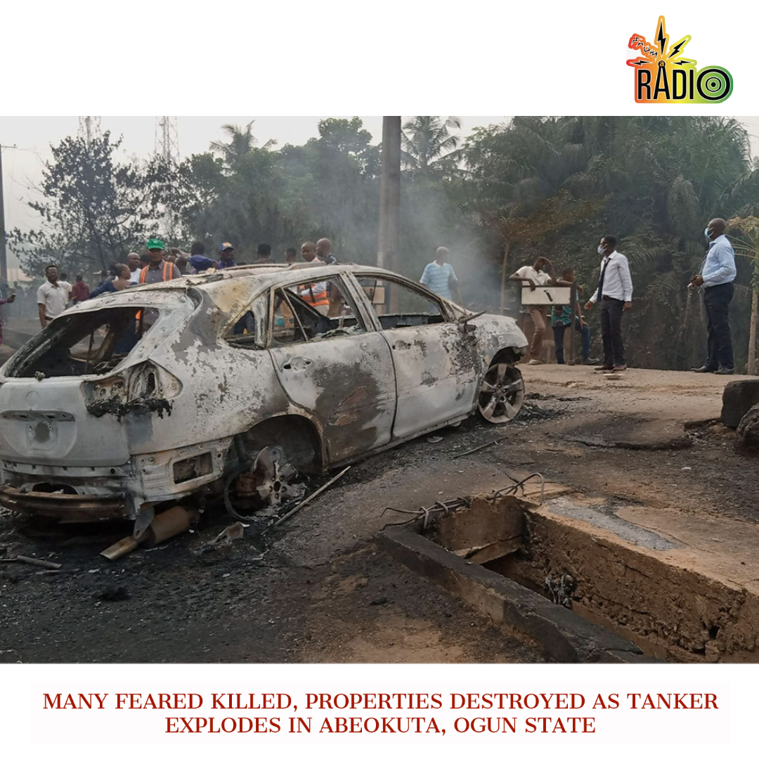 Many Feared Killed, Properties Destroyed As Tanker Explodes In Abeokuta, Ogun State. - Many commuters have been reported dead as a petrol tanker exploded in Abeokuta, the Ogun state capital on Tuesday.  #fromaradio #BREAKING #News #tuesdaythoughts #tuesdaymotivations #fire