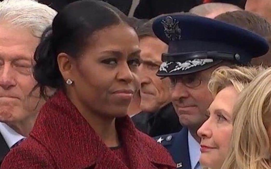 This picture of  Michelle Obama  and Hillary Clinton from the 2016 inauguration will forever be engraved in my head.   Hillary:  Girl, can you believe this shit?!   Michelle: .....