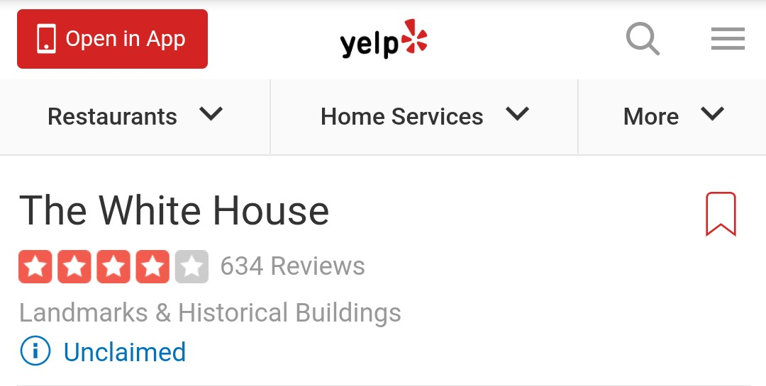 "Wanted to see if any rioters left reviews of their time in the Capitol. While, there I thought a whole meme saga could be launched of Trump yelp reviews of The White House. ""ZERO STARS! Wouldn't let me extend reservation!"" #InaugurationDay #ByeDon #ByeFelicia #Hello2021"