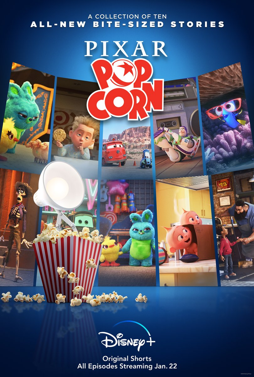 Pixar Popcorn, Original Shorts. All episodes streaming January 22 on @DisneyPlus🍿 #PixarPopcorn