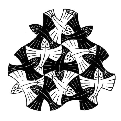 7 Black and 6 White Fishes, 1954  #mcescher #wikiart