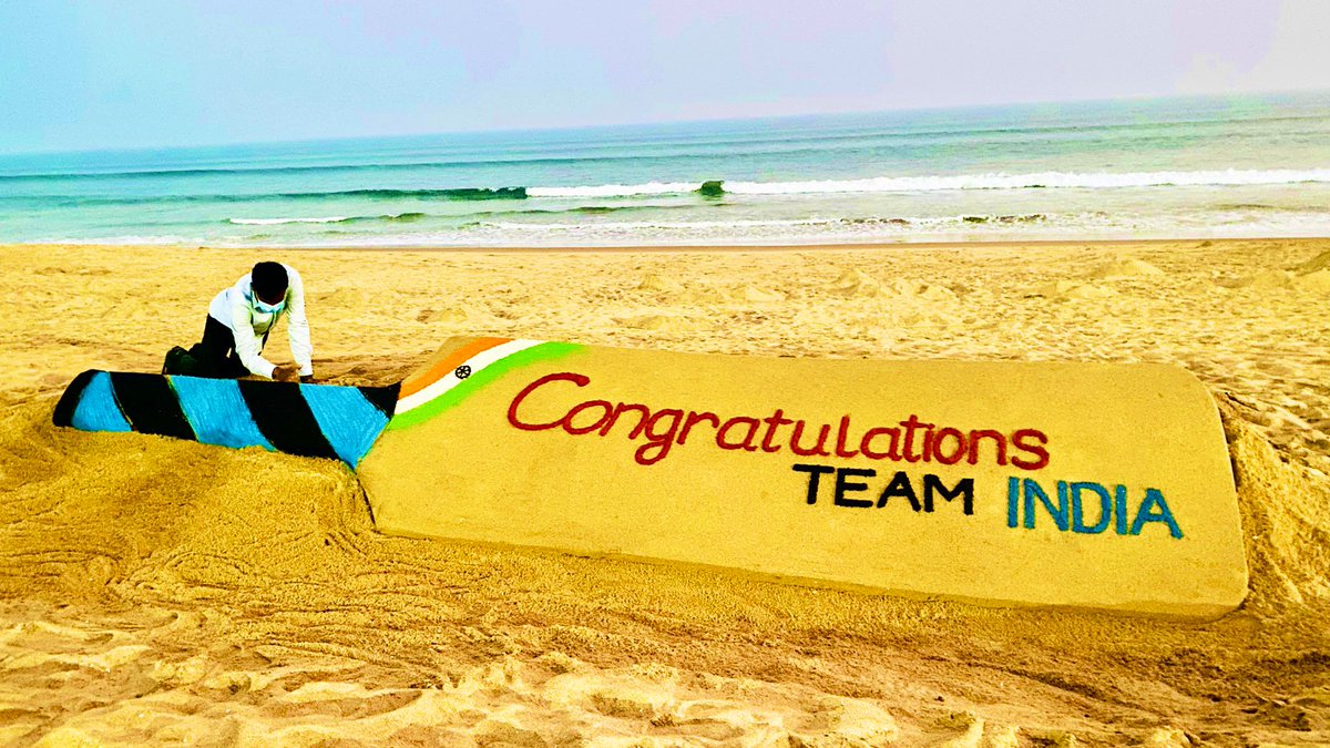 Congratulations #TeamIndia on an outstanding series victory. A proud moment for all of us. My SandArt at Puri beach.@BCCI #INDvsAUS