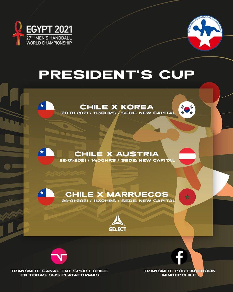 Ya establecida la PRESIDENT'S CUP que decidirá el orden de los puestos entre el 25 y el 32 en el mundial de Handball Egipto 2021.  más información sobre la participación de Chile en el siguiente link: https://t.co/fOhVIEKrwk https://t.co/zBSL5RzIK8